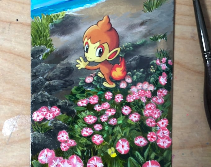 Featured listing image: Custom Painted Chimchar Pokemon TCG Card