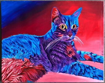 """Colorful Cat Painting 16""""x20"""""""
