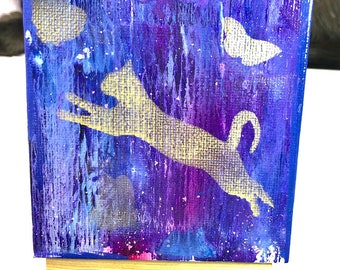 "Abstract Cat Painting 4""x4"""