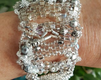 Free Form Peyote Stitch Beaded Bracelet