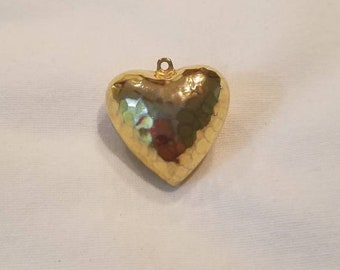 Vintage 1970s Puffy Heart Pendant, gold color