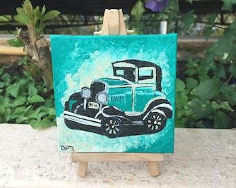 Mini Canvas Painting- Vintage Car 02