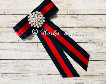 99f427c41a9 Bow Brooch Tie - Navy Blue and Red - Designer Inspired - Ladies Fashion -  Women s Fashion - Trendy - Ladies Accessories - Christmas - Gifts