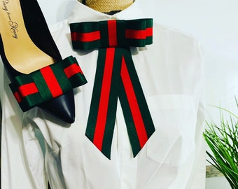 492d2cdb4cd BEST SELLER -Designer inspired -Bow Brooch Set- Red and Green -Gucci  Inspired - Shoe clips - Gifts -Gifrs for Her - Gift Ideas-