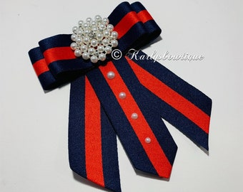5828a6d7a4a Designer Inspired - Bow Brooch - Pearls - Runway Fashion- Gucci Inspired -  Red and Blue - Gifts - Fashion - Trendy - Ties -