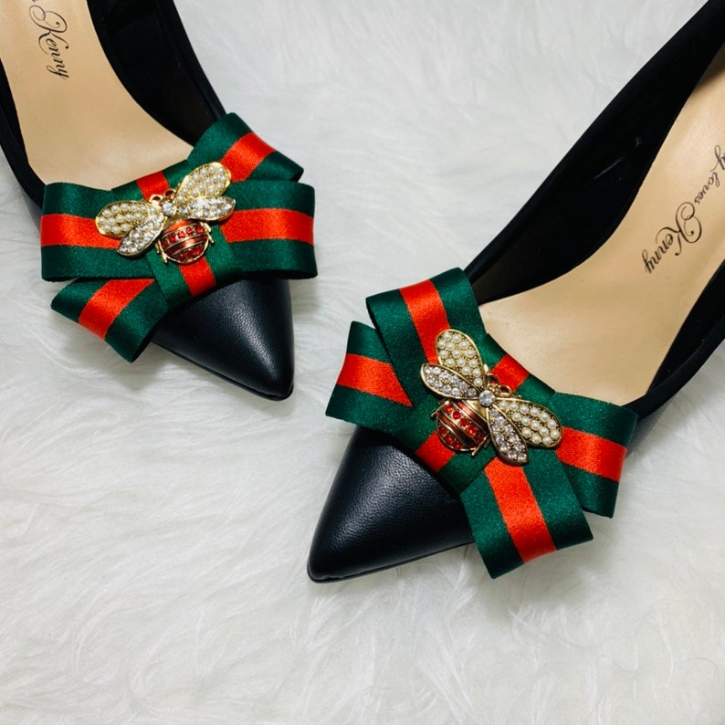 665cd99747 Designer Inspired -Shoe Clip- Red and Green - Bees - Gucci Inspired  -Fashion- Shoe Jewelry -Gifts- Gifts For Her - Runway Fashion -