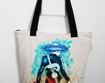 Hand painted Mariachi Tote bag