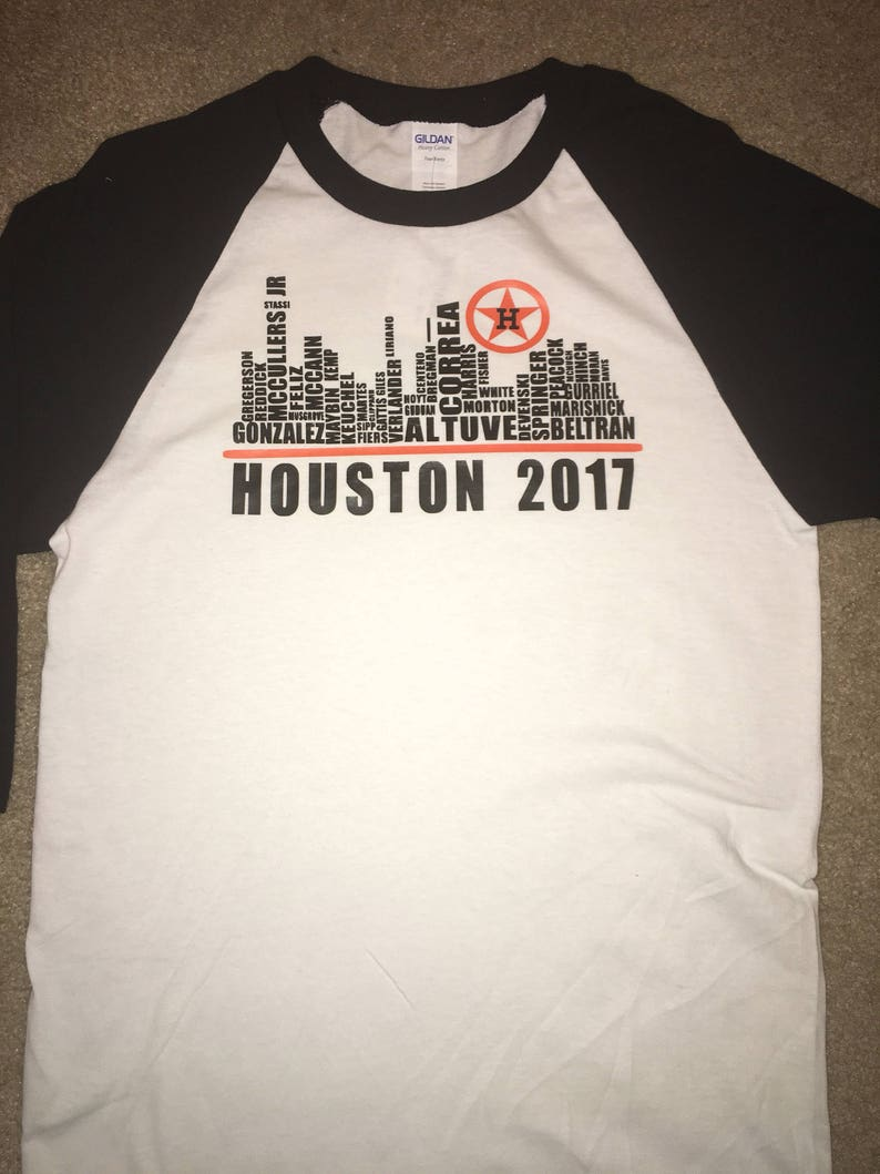 b2a0f817 Houston Astros MLB 2017 World Series Champions - Womens Stripe V-Neck Tee.  image 0 .