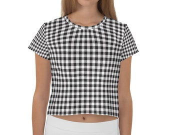 0021969a8fbfe All-Over Print Gingham Crop Tee