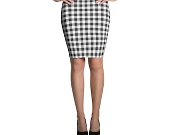 b63194a892 Gingham pencil skirt | Etsy