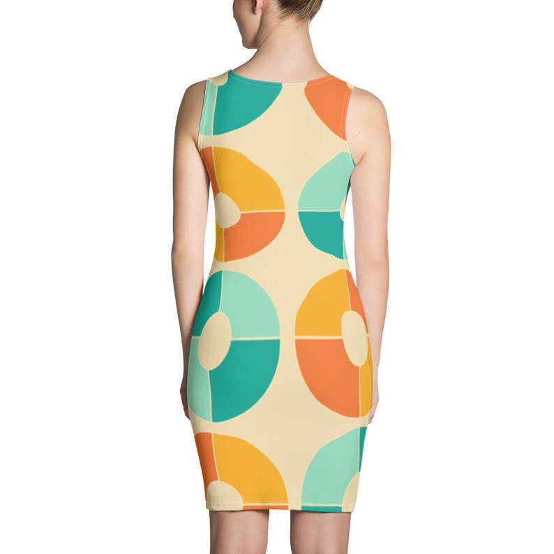 Orange and Blue Retro Vinyl Dress