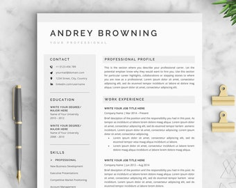 modern resume template clean professional resume template 4 page pack instant download resumecv template for word the andrey