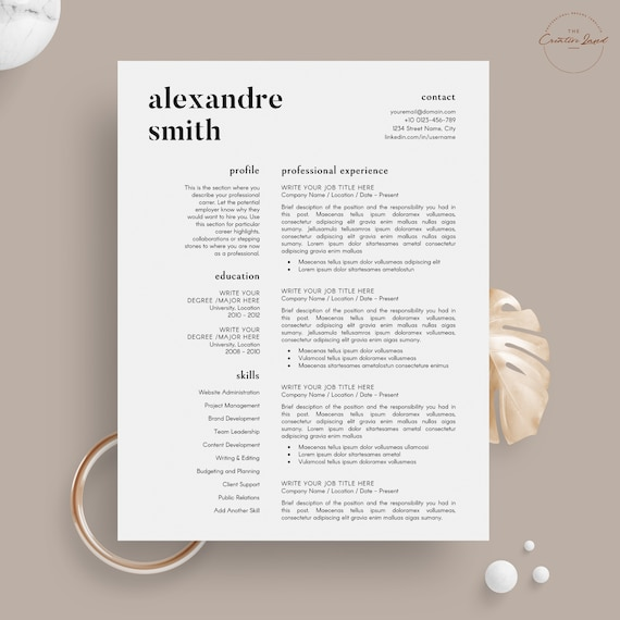 Professional Resume Template Simple Clean Resume Template 5 Page Pack Instant Download Resume Cv Template For Word The Smith