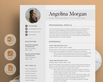 """Modern Resume Template for Word, Pages, Google Docs 