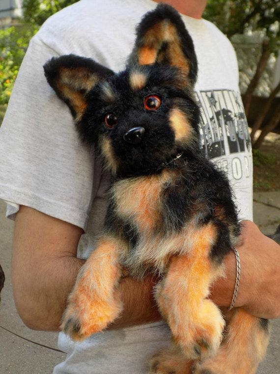 German Shepherd dog,Shepherd ,scarecrow, OOAK Handmade gifts , Art Doll ,kawaii plush ,poseable doll Small