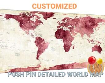 Rose world map canvas wall art Rose world map push pin map Rose world map travel map Rose world map world map wall decor large world map