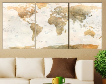 Items similar to large blue world map canvas panel print blue push browse more items from etsy gumiabroncs Images