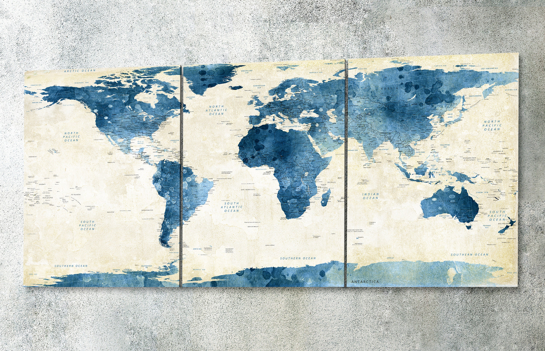 Navy world map canvas wall art Navy world map push pin map | Etsy