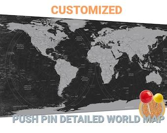 Personalized push pin world map canvas wall art Personalized push pin world map push pin map travel map world map wall decor large world map