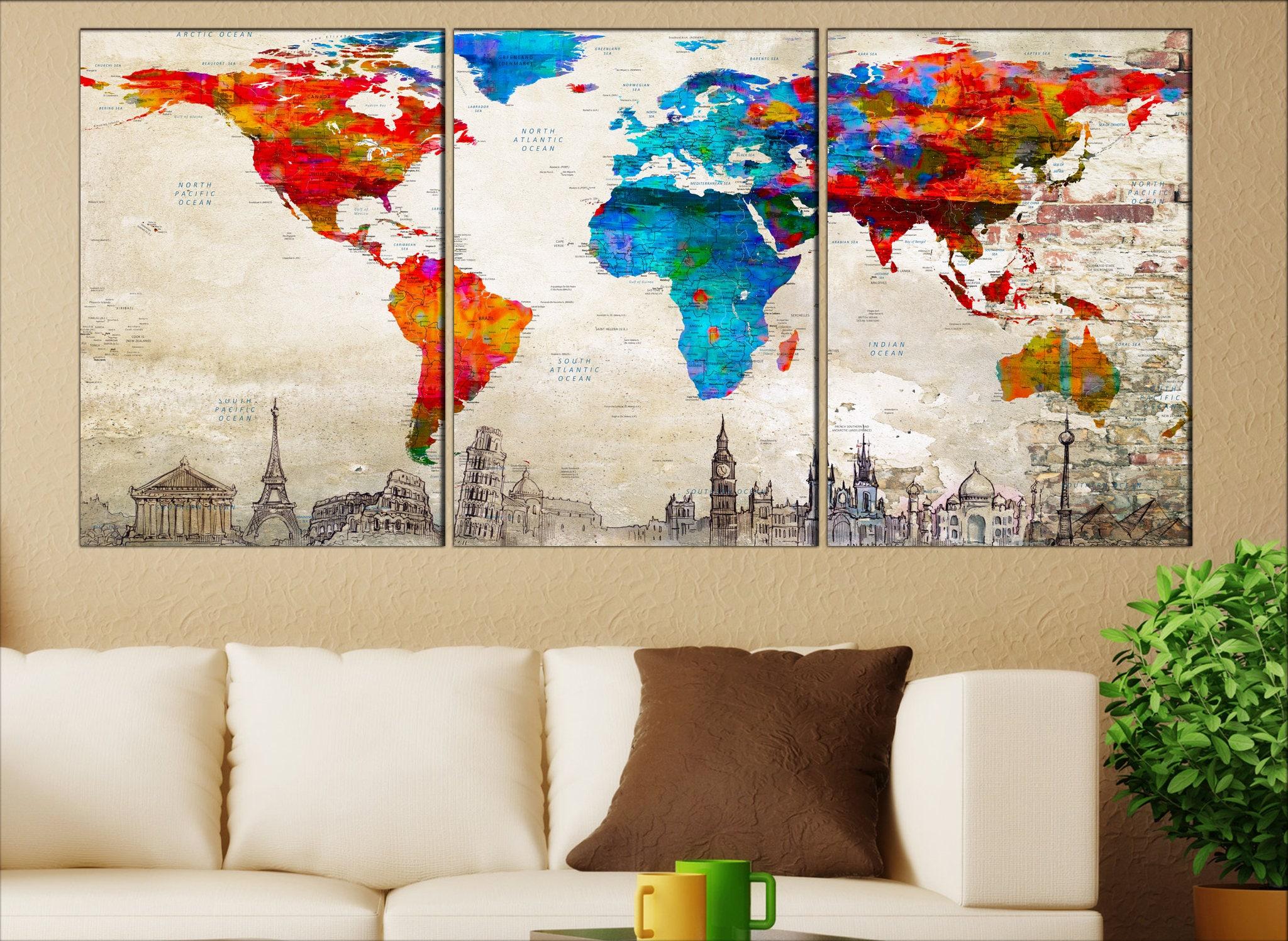 monde carte toile toile murale art monde toile push pin carte etsy. Black Bedroom Furniture Sets. Home Design Ideas