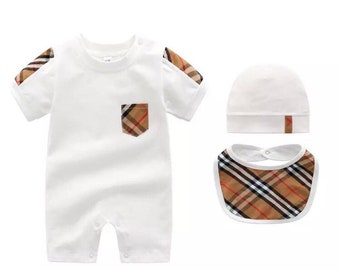 07cde9e8ab6 Baby unisex Burberry inspired jumpsuit with matching bib and hat