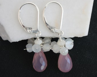 Pink Chalcedony Cluster Earrings l Sterling Silver Cluster Earrings l Chalcedony Teardrop Earrings l Dainty Pink Earrings l Sterling Silver
