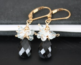 Onyx Dangle Earrings l Gemstone Earrings l Cluster Earrings l 14K Gold Filled Earrings l Onyx Drop and Aquamarine Earrings l Black Earrings