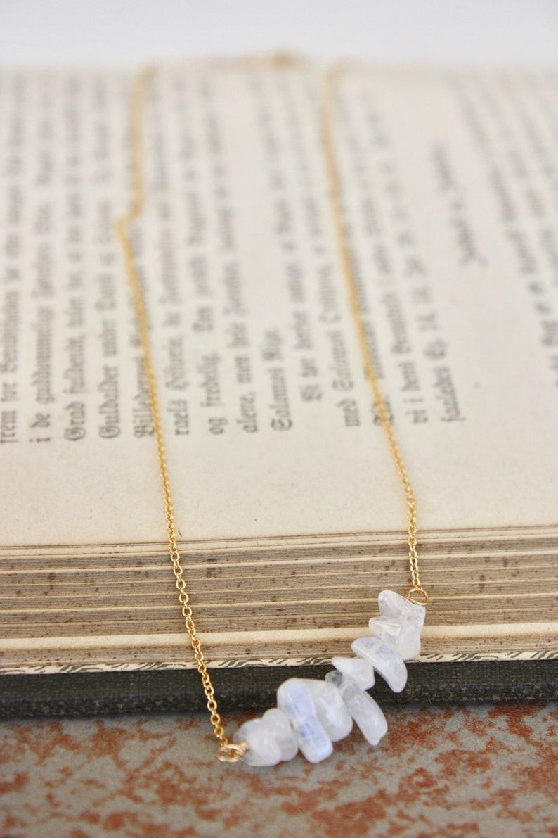 Gold Moonstone Necklace  Dainty Necklace  Gemstone Chip Bar Necklace  Delicate Necklace  Gold Filled Necklace  Minimalist Necklace