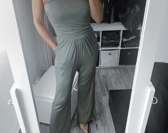 Avocado Solid Strapless Wide Leg Jumpsuit