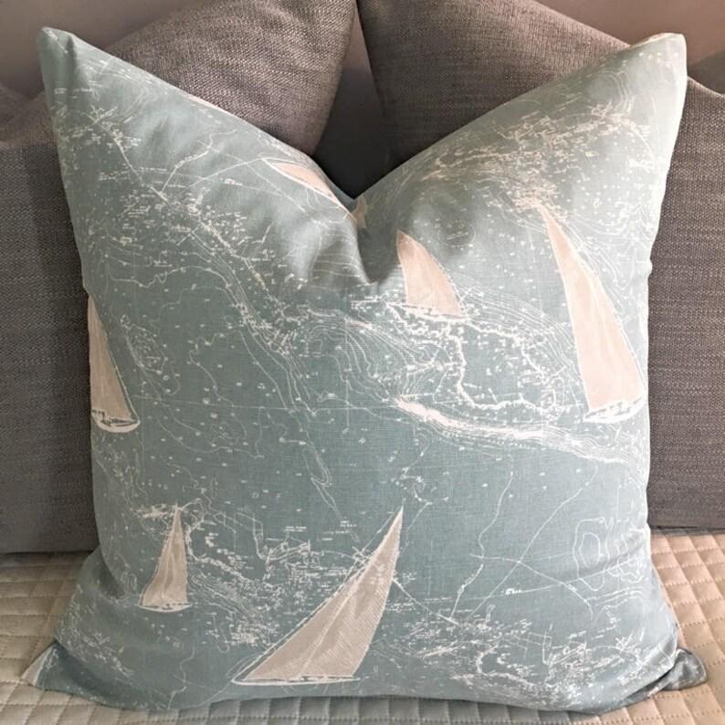 Nautical Themed Sail Boat Sail Away Pillow Cover Home Decor Housewarming Gift Idea Blue White Pillow Beach Theme Beach Pillow Best Seller