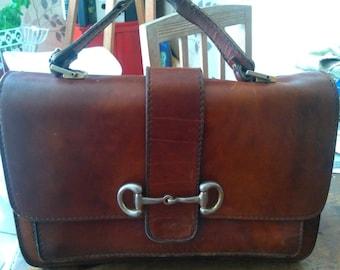 Italian made Superb brown leather bag from Mugnai brand