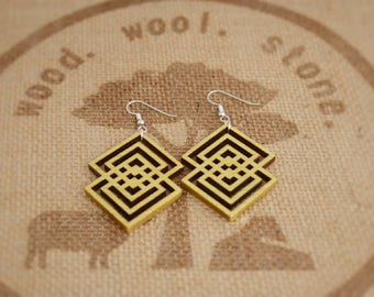 Geometric Wood Dangle Earrings / Yellowheart Dangle Earrings / by wood.wool.stone