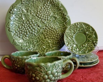 Majolica Green Embossed Platter, Cups and Saucers
