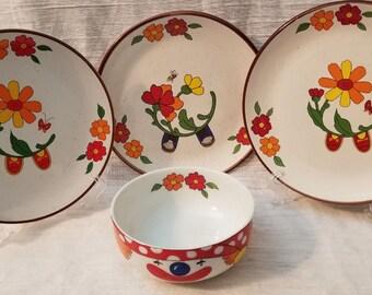 Interpur Korean Clown bowl and 3 Plates