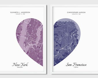 Custom 2 Piece Heart Map Print, Printable Map, Any City, Wedding Gift, Valentines Day Gift, Gift for Couple, Personalized Map Print,Wall Art