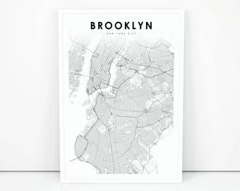 Brooklyn print etsy brooklyn map print new york city nyc ny usa map art poster city street road map print nursery room wall office decor printable map malvernweather Images