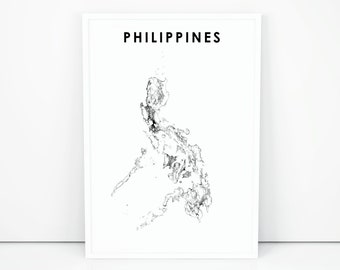 Philippines Map Black And White.Philippines Map Etsy