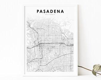 Pasadena CA map Pasadena wall art Pasadena California Black and White Map Pasadena map Pasadena print Pasadena poster
