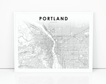 Portland oregon map | Etsy