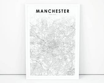 Manchester map | Etsy