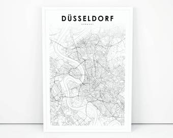 Dusseldorf city map | Etsy on