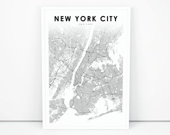 New York On Usa Map.New York Map Print Etsy