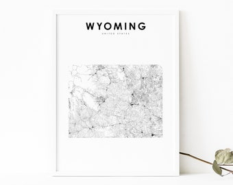 Wyoming Art Print Wyoming Decor Wyoming Print Wyoming Map Art Office Print Gold Art Print Office Poster Office Decor GoldArtPrint