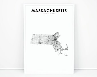 picture relating to Printable Map of Massachusetts referred to as Machusetts map Etsy