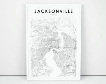 Jacksonville Florida Map.Jacksonville Map Etsy