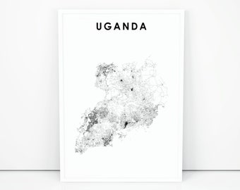 Uganda map | Etsy