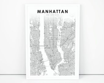 Road Map Of Manhattan.Manhattan Street Map Etsy