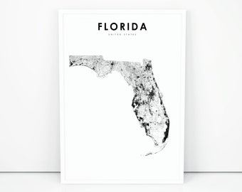 Map Of Florida Printable.Florida Map Print Etsy