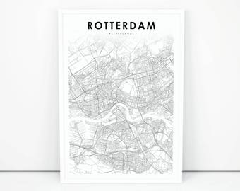 Rotterdam city map | Etsy