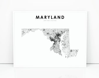 picture relating to Printable Map of Maryland named Maryland map Etsy